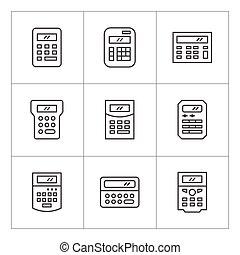 ligne, ensemble, calculatrice, icônes