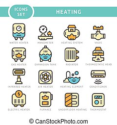 ligne, ensemble, chauffage, icônes