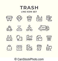 ligne, ensemble, déchets ménagers, icônes