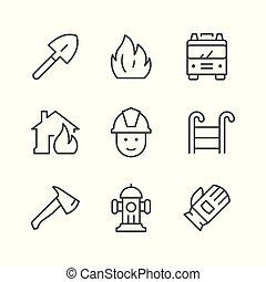 ligne, ensemble, firefighting, icônes
