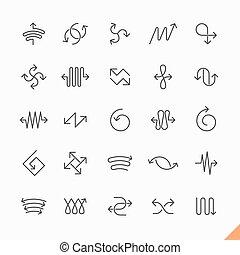 ligne, ensemble, flèches, mince, icônes