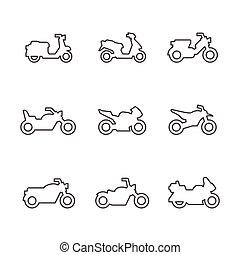 ligne, ensemble, motocyclettes, icônes