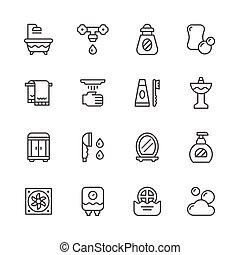 ligne, ensemble, salle bains, icônes