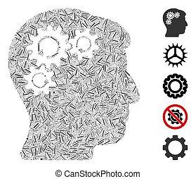 ligne, esprit, collage, engrenage, icône, rotation