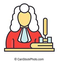 ligne fixe, linéaire, justice, concept., editable, isolé, illustration, juge, vecteur, icon., fond, blanc, droit & loi, marteau, stroke.