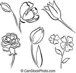 ligne, fleur, art