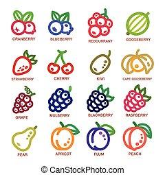 ligne, fruit, icône, mince