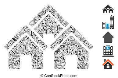 ligne, icône, bâtiments, collage, ville