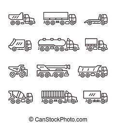 ligne, icônes, ensemble, camions