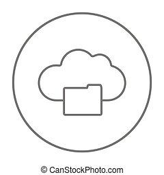 ligne, icon., nuage, calculer