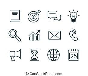 ligne, icones affaires