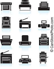 ligne, imprimante, art, icônes