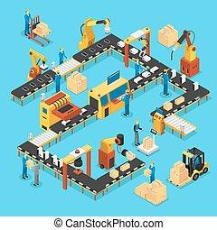 ligne, isométrique, concept, production, automatisé