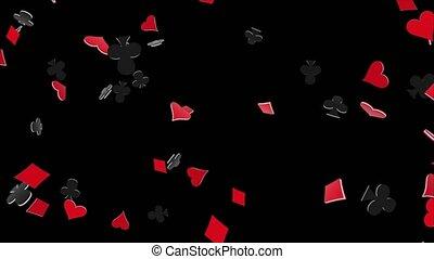 ligne, jeux & paris, alpha, boucle, signe, casino, vert, poker, animation., fond, écran