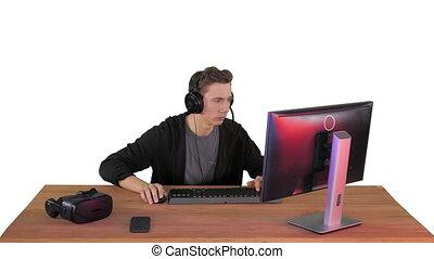 ligne, jouer, vidéo, blanc, gamer, excité, jeu, arrière-plan.