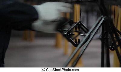 ligne, mains, convoyeur