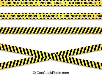 ligne, police, bandes, danger