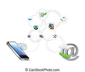 ligne, réseau, illustration, paramètres