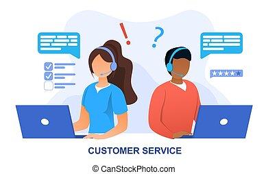 ligne, service, personnel, concept, client