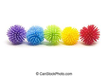 ligne, stess, balles, coloré, cinq, koosh