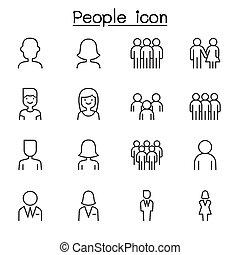 ligne, style, ensemble, gens, icône, mince