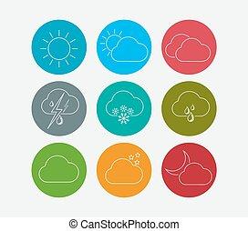 ligne, temps, ensemble, icônes