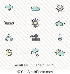 ligne, temps, mince, coup, icônes