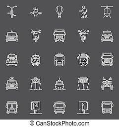 ligne, transport, icônes