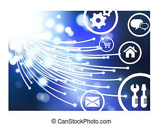 ligne, vecteur, ai8, fond, boutons, optique, fibre, compatible, original, illustration:, câble, icônes, internet