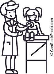 ligne, vecteur, fond, examen, girl, docteur, monde médical, icône, signe, pédiatre, docteur femme, bébé, editable, stéthoscope, illustration, coups, jeune