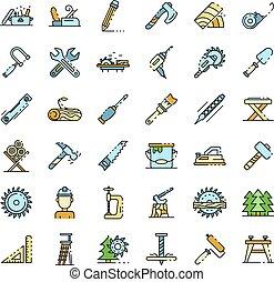 ligne, vecteur, icônes, ensemble, couleur, charpentier
