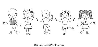 ligne, vecteur, kids., heureux, rigolote, grand, mignon, blanc, livre, noir, actif, illustration, groupe, clipart., dessin animé, garçons, danser., filles, ensemble, enfants, coloration, arrière-plan.
