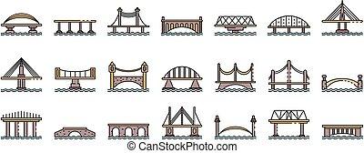 ligne, vecteur, ponts, icônes, ensemble, couleur