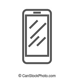 ligne, vecteur, smartphone, icône, mince