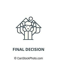 ligne, vecteur, voyage, décision, final, concept, icône, signe, homme, contour, linéaire, symbole