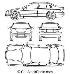 ligne, voiture, dessin