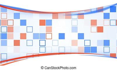 lignes bleu, loopable, fond, orange, carrés
