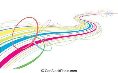 lignes, coloré, écoulement