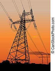 lignes, pouvoir électrique, pylônes