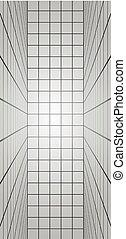 lignes verticales, long, illustration, salle