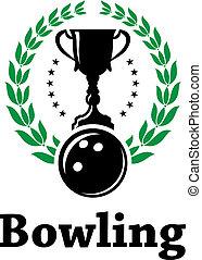 ligue, couronne, étiquette, bowling, laurier, sport