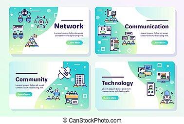 linéaire, collaboration, apparenté, ensemble, concept., vecteur, icons., communication