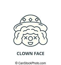 linéaire, concept, symbole, clown, figure, signe, vecteur, icône, ligne, contour