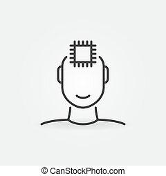 linéaire, informatique, vecteur, puce, humain, icône, concept, figure