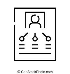 linéaire, personnel, concept, contour, icône, symbole., responsabilité, signe, vecteur, ligne, illustration
