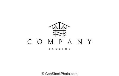 linéaire, style., plage, logo, résumé, vecteur, maison, image