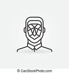 linéaire, vecteur, icon., symbole, homme, concept, figure, détection