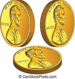 lincoln, or, image, trois, cent, une, argent américain, angles, monnaie, différent