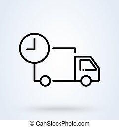 linear., vecteur, livraison, expédition, expédition, mince, jeûne, camion, icône, services, fret, illustration., horloge, ligne