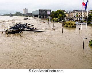 linz, autriche, inondation, 2013
